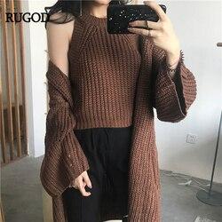 RUGOD 2019 корейский комплект из 2 предметов, короткий однотонный сексуальный жилет без рукавов и шикарный кардиган с расклешенными рукавами, св...