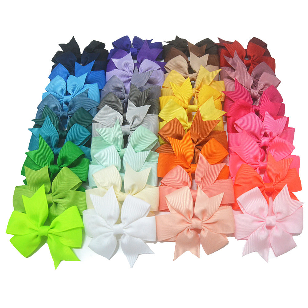40pcs/lot 3 inch High Quality Grosgrain Ribbon Hair Bow Tie WITH/WITHOUT Clip Kids Hairpin Headwear Bowknot Accessories HDJ15 10pcs lot high quality hair band with grosgrain ribbon flower for girls handmade flower hairbow hairband kids hair accessories
