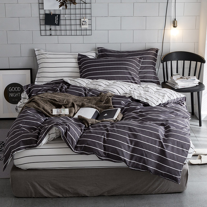 Home textiles simple striped European and American bedding three-piece set sanding comfortable breathable fashion large size