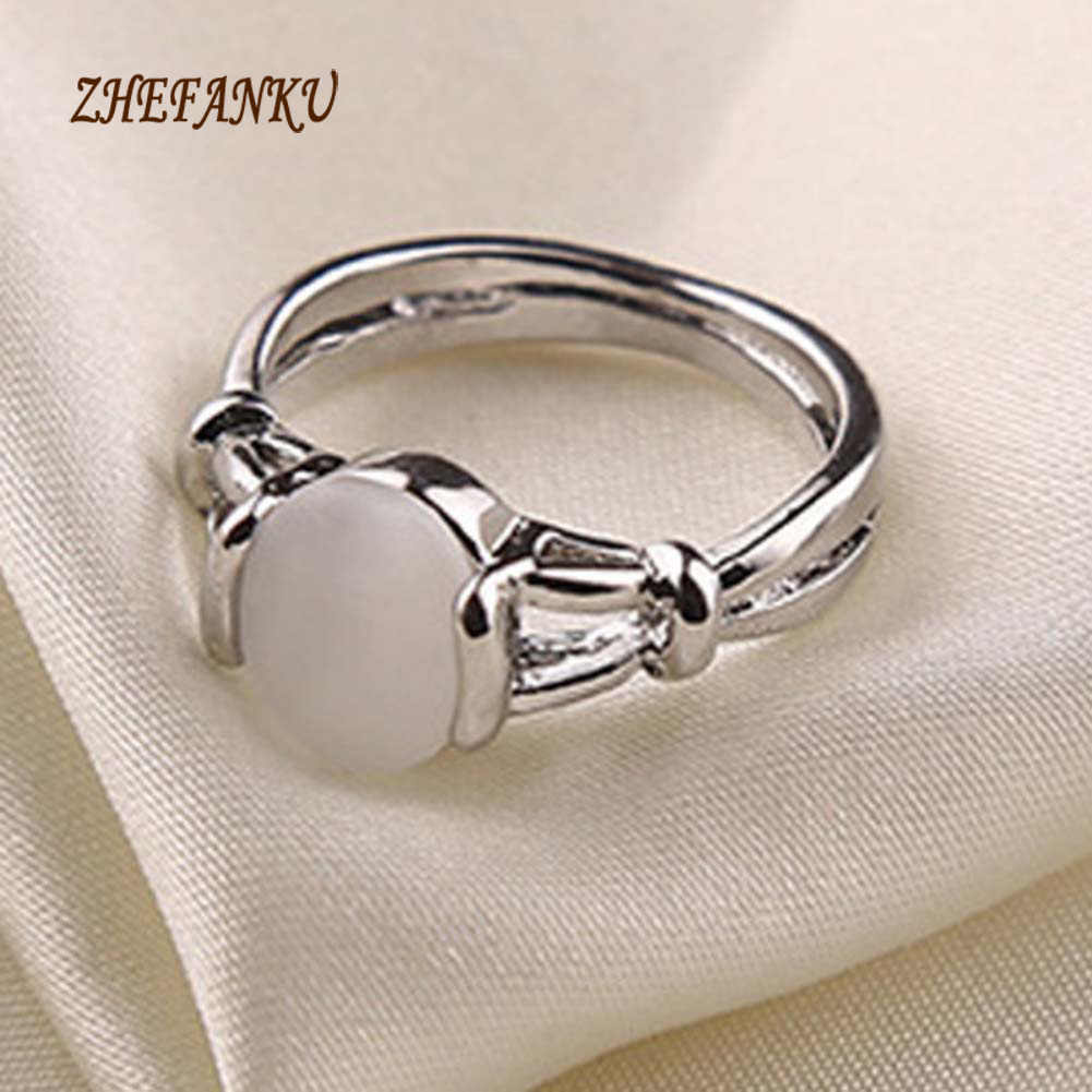 2017 Fashion  White Stone Rings Moonstone  Zinc Alloy  Ring Gift For Women Girls
