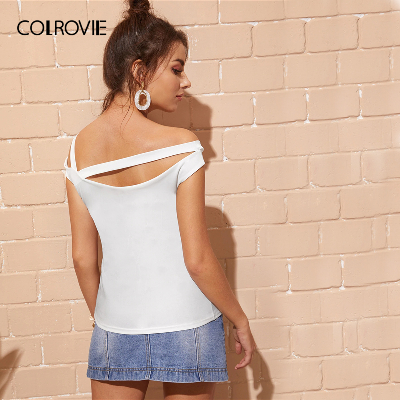 COLROVIE White Solid Asymmetrical Neck Sexy T Shirt Women Clothes 2019 Summer Style Black Korean Slim Fit Ladies Tee Shirts Tops in T Shirts from Women 39 s Clothing