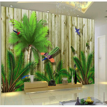 Custom wallpaper Mediterranean tropical bird forest Southeast Asia living room wall decoration waterproof material