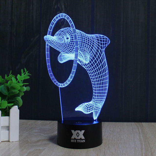 Dolphin lamp 3D Visual Led Night Lights for Kids Touch USB 7colors  table novelty products christmas lights with night light