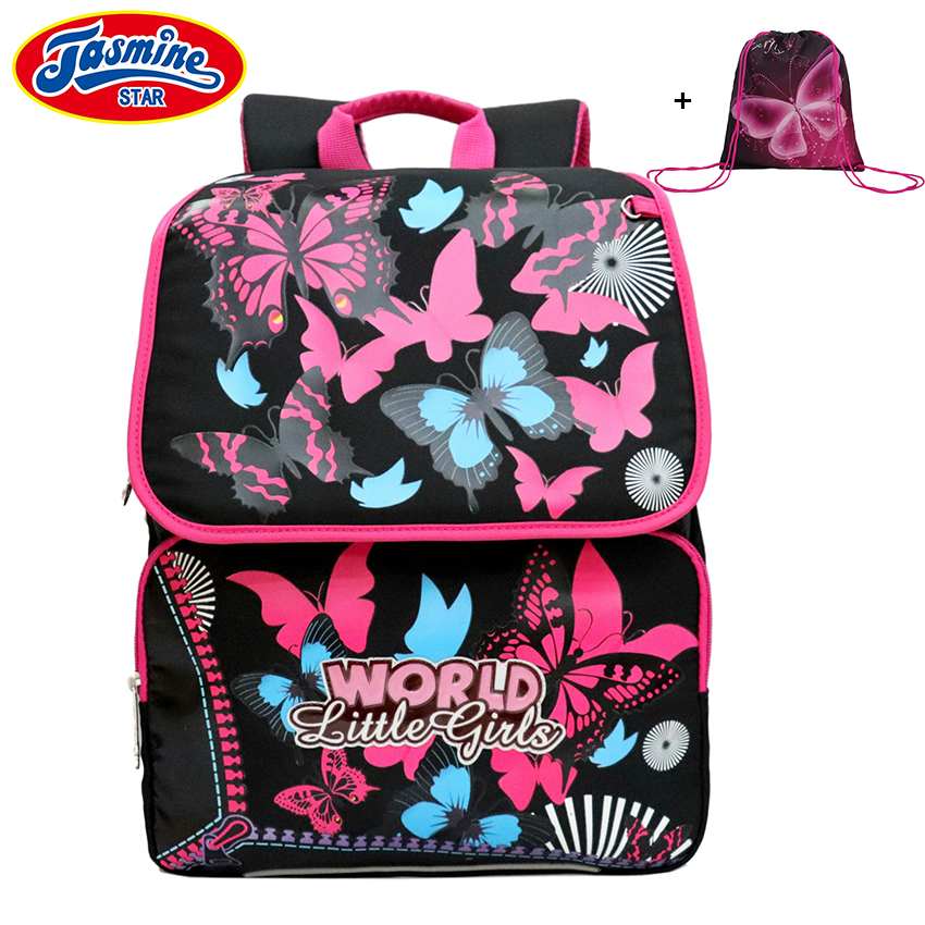 цена на JASMINESTAR Children School Bags Orthopedic Backpacks Waterproof Satchel Kids Butterfly School Bags For Girls Mochila Escolar