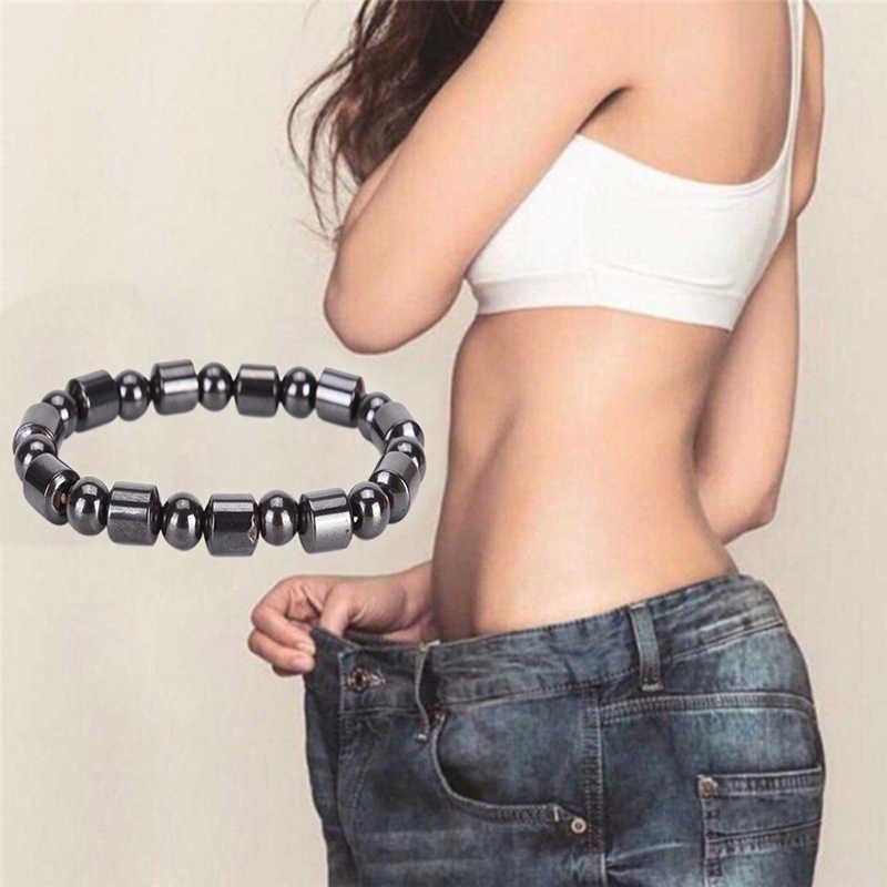 Круглый черный камень крутой браслет для магнитотерапии здравоохранения потери веса гематитовый магнит мужские браслеты из бисера женские ювелирные изделия
