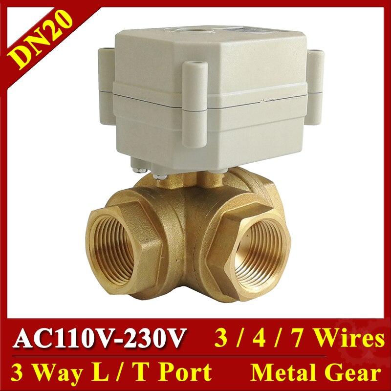 """3/4 """"AC110 230V typu poziomego 3 way elektryczny zawór z mosiądzu, DN20 3/4/7 przewody uruchamiany zawór kulowy do mieszania wody w Zawory od Majsterkowanie na AliExpress - 11.11_Double 11Singles' Day 1"""