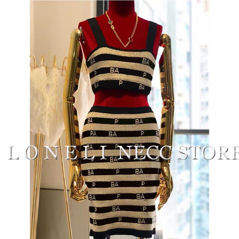 Striped Suit Femme 2019 New Summer Sexy 2 Piece Set Women Suit Skirt Crop Top Knit Outfits Runway Set