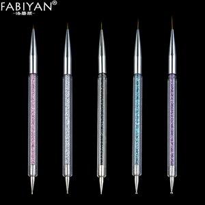 Image 5 - 5 boyutu Nail Art süsleyen kalem akrilik Rhinestone kristal 2 yollu UV jel boyama manikür aracı çizim astar çiçek fırça dekorasyon