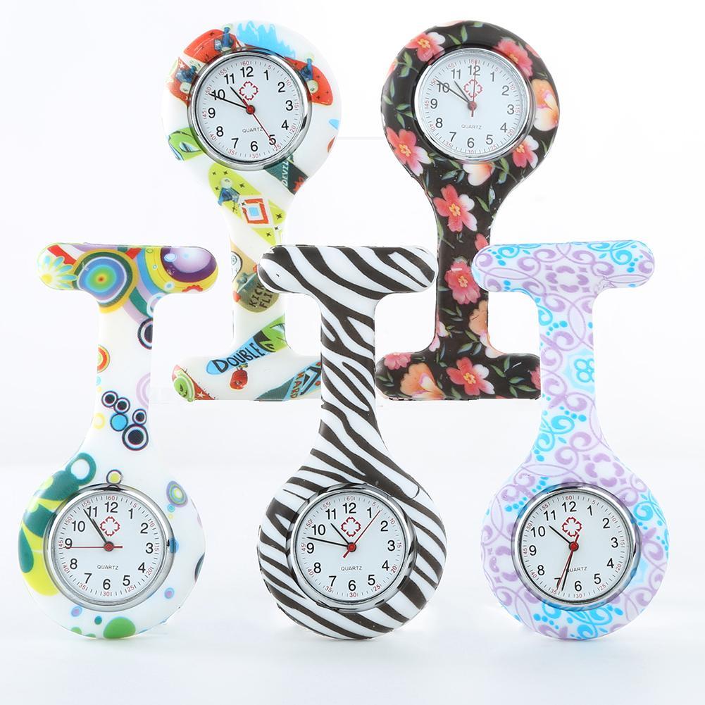 Clip-on Fob Quartz Brooch Hanging Nurse Watch Fashion Casual Men Women Unisex Rubber Silicone Pocket Watch Relogio Hour Clock