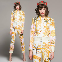 Women Suits 2018 Spring Blouse Pants Sets Two Pieces Runway Designer Europe High Quality Shirt Long