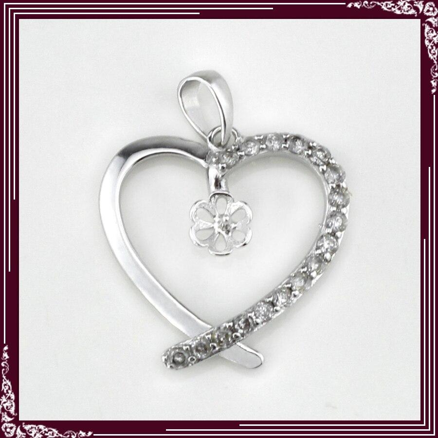 1a054d2dc1ad Forma de corazón con ZIRCON 925 joyería de plata esterlina colgante  accesorios 5 unids