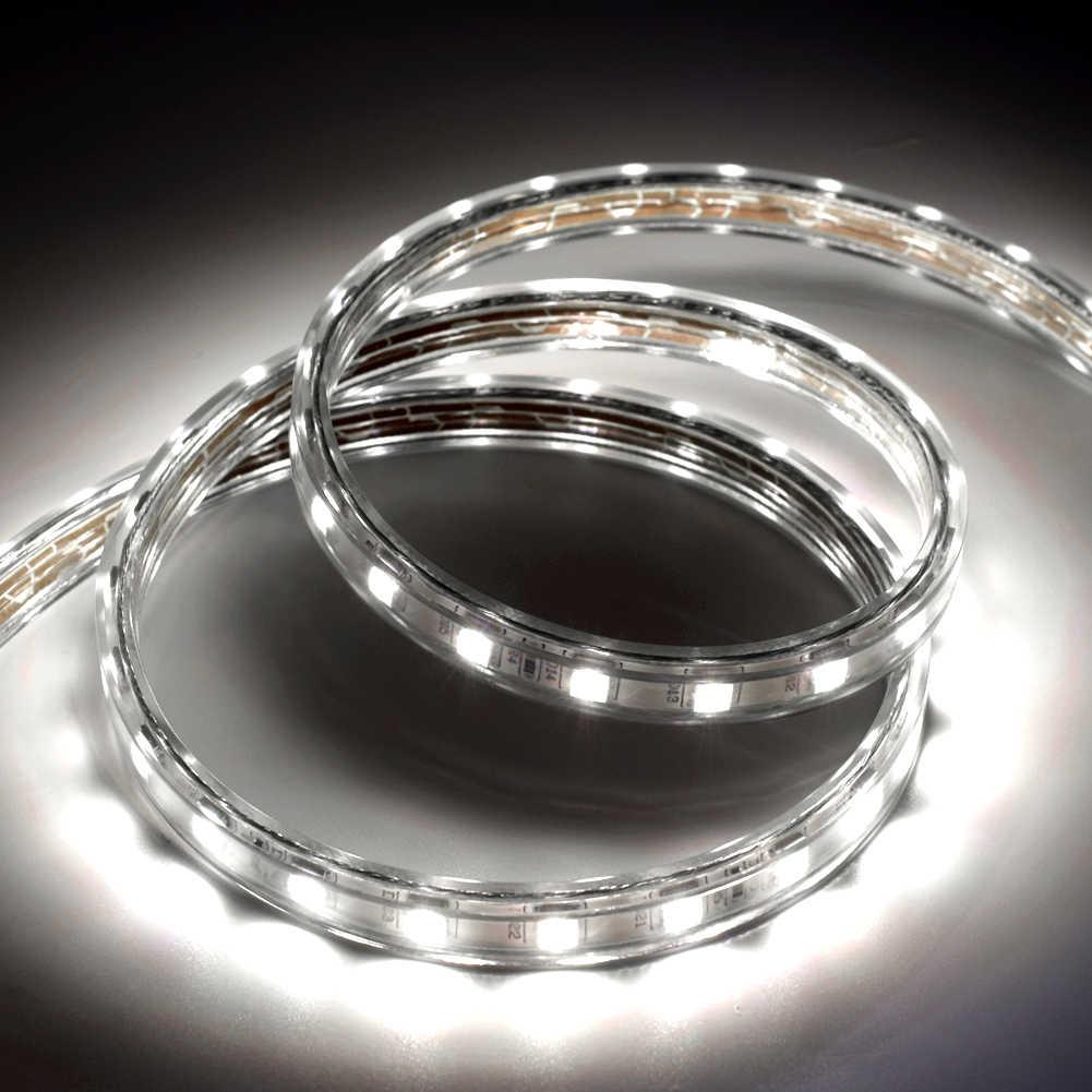 זול 2 m LED רצועת SMD 5050 עמיד למים AC 220 v 230 v 240 v גזיר LED אור גמיש סרט דיודה קלטת האיחוד האירופי בריטניה תקע קלטת חג המולד