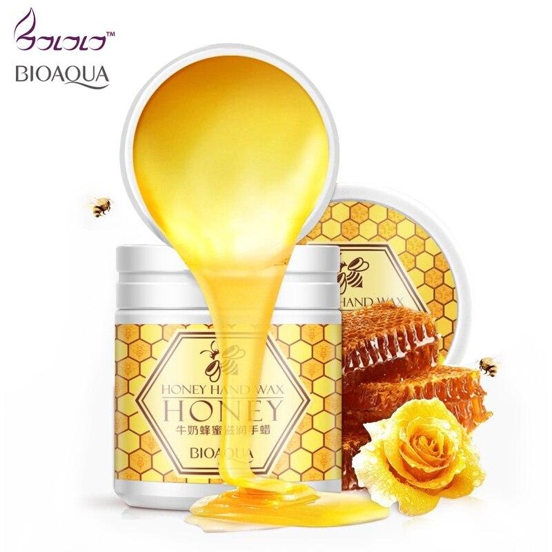 BIOAQUA milk honey moisturizing hand wax paraffin bath hand creams whitening hydrating cutin membrane remove aged horn skin care bioaqua honey quintessence foot membrane 10pcs