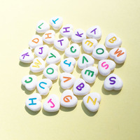 Free Shipping 12MM Love Heart Shape Alphabet Letters Beads DIy Jewelry Findings Plastic White with Colorful Initial A Z Bead