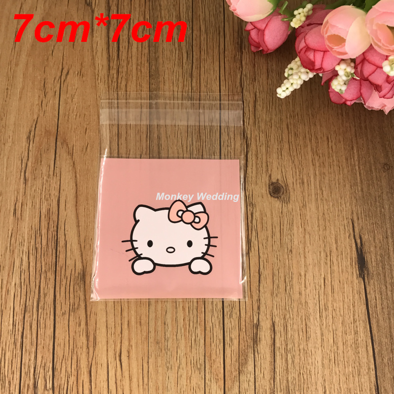 7cm*7cm 100pcs Hello Kitty Sweets and Candy Food Biscuit Cookie Cake Gift Bag Dessert Storage Bag candy color bag package