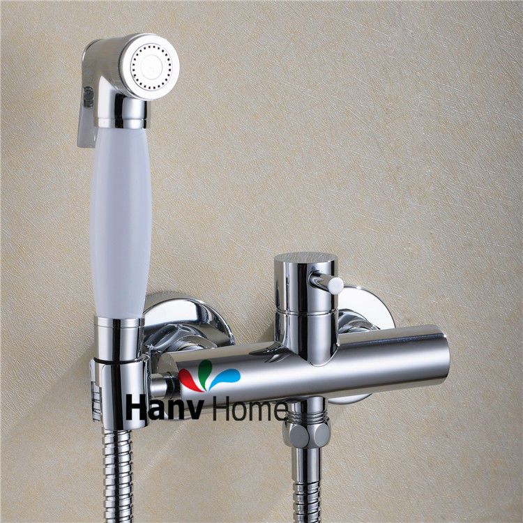 Toilet Bathroom Hand held Bidet Spray Shattaf + Brass Hot & Cold Water Valve Mixer with Holder + Hose sprayer Jet Tap Douche kit smart thermostatic bidet mixer spray shower set faucets bathroom hot cold water hand held toilet bidet spray gun chrome in wall