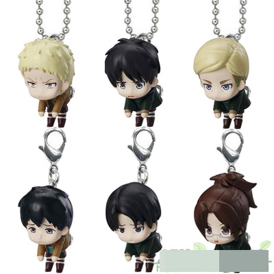 Anime Attack On Titan Original Capsule Toy Hanging Collection 2 Eren Erwin Smith Levi Ackerman Reiner Bertolt  6pcs Figure