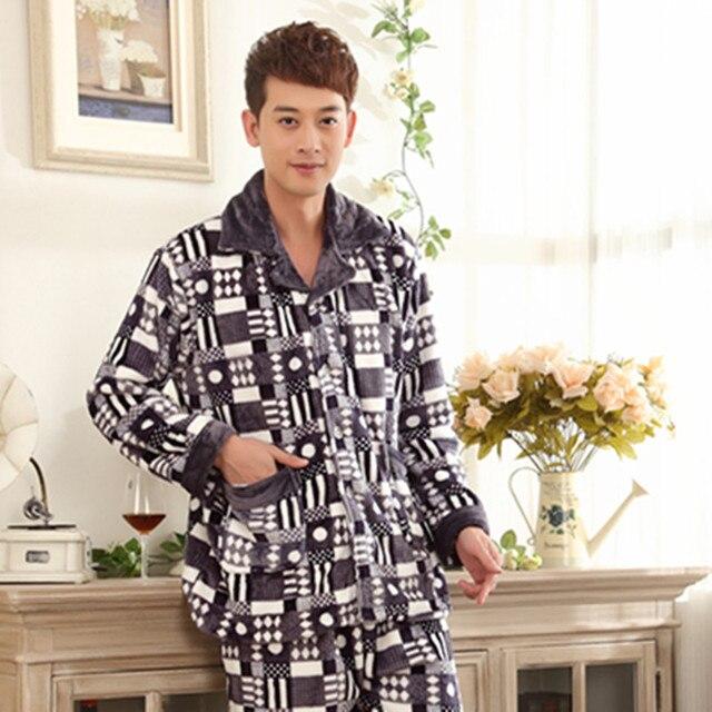 Invierno pijamas para los hombres ropa interior de tallas grandes XXXL ocio hogar de manga larga pijama de Franela gruesa caliente masculino