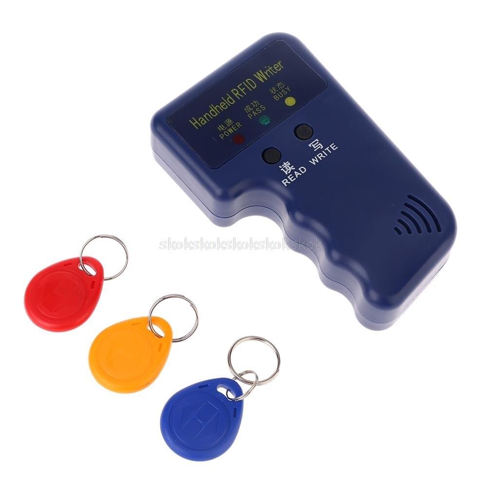 Handheld 125KHz RFID Duplicator Copier Writer Programmer Reader + Keys EM4305 T5577 Rewritable ID Keyfobs Tags Card Jy19 19