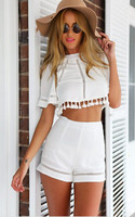 Summer Style Crop Top And Shorts Set Print Jumpsuit Women Casual Sexy Resort Wear Cropped Monos
