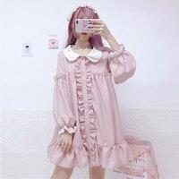 2019 New Japanese Sweet Kawaii Doll Collar Dress Cute Girls Lantern Sleeve Ruffle Pink Dress Women Spring Autumn Vestido