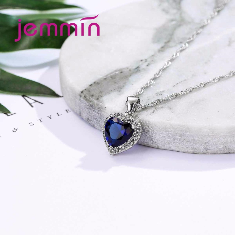 HTB1zDYKXIrHK1Jjy1zjq6ynYVXaE Hot Sale Heart Shape Bule Crystal 925 Sterling Silver Necklace And Earrings Set For Women Female Party Engagement