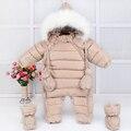 De invierno gruesa mono del bebé infantil del niño a prueba de viento prendas de vestir exteriores de los bebés calientes chicas parka abrigo cubierta del pie y guantes conjunto