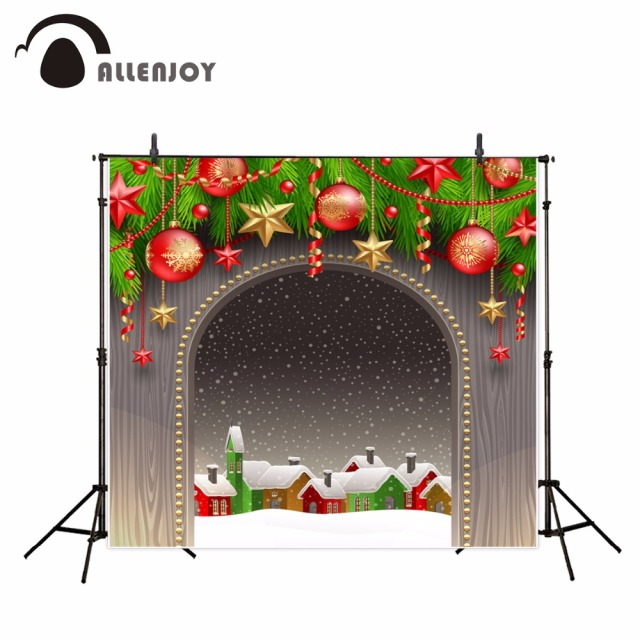 allenjoy christmas background arches red balls golden stars christmas village photography backdrops christmas decorations