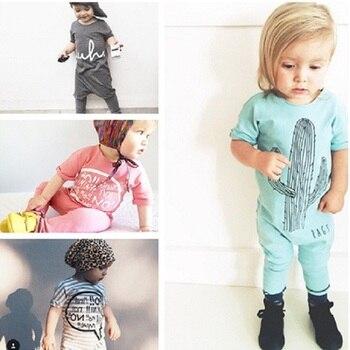 2020 New baby romper kids short sleeve stripe cactus letter  sliders for boys girls bebe romper cartoon CR081 1