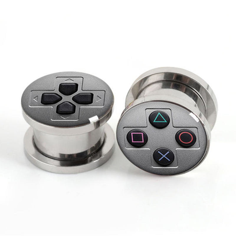 Wholesale Ear Gauge Plugs Game Console Stainless Steel Screw Fit Flesh Tunnel Plug Eyelet Body Piercing
