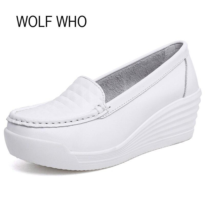 WOLF WHO High Heel 6CM Women White Platform Shoes Wedges Krasovki Slipony Casual Tenis Feminino Chaussure Femme x264 wolf who genuine leather women shoes ladies spring krasovki slipony slip on loafers woman tenis feminino casual h 049