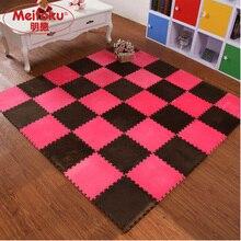 Meitoku EVA Foam Interlocking Exercise Gym Exercise Floor play Puzzle mat,Shu Velveteen Flooring Tile 10pcs/lot Each32X32cm