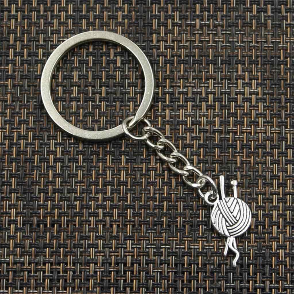 Nueva Moda hombre 30mm llavero DIY metal soporte cadena vintage hilo bola tejido ganchillo 26x12mm plata colgante de regalo