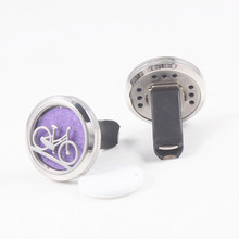 Bicycle Pattern Car Perfume Locket 30mm 316L Stainless Steel Round Shape Screw Amoratherapy Diffuser Lockets 10pcs Free Pads