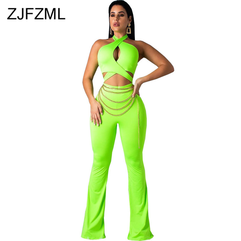 Waist Band Cut Out Sexy Bodycon   Jumpsuits   Women Neon Green Halter Backless Party Romper Summer Off Shoulder Sleeveless Bodysuit
