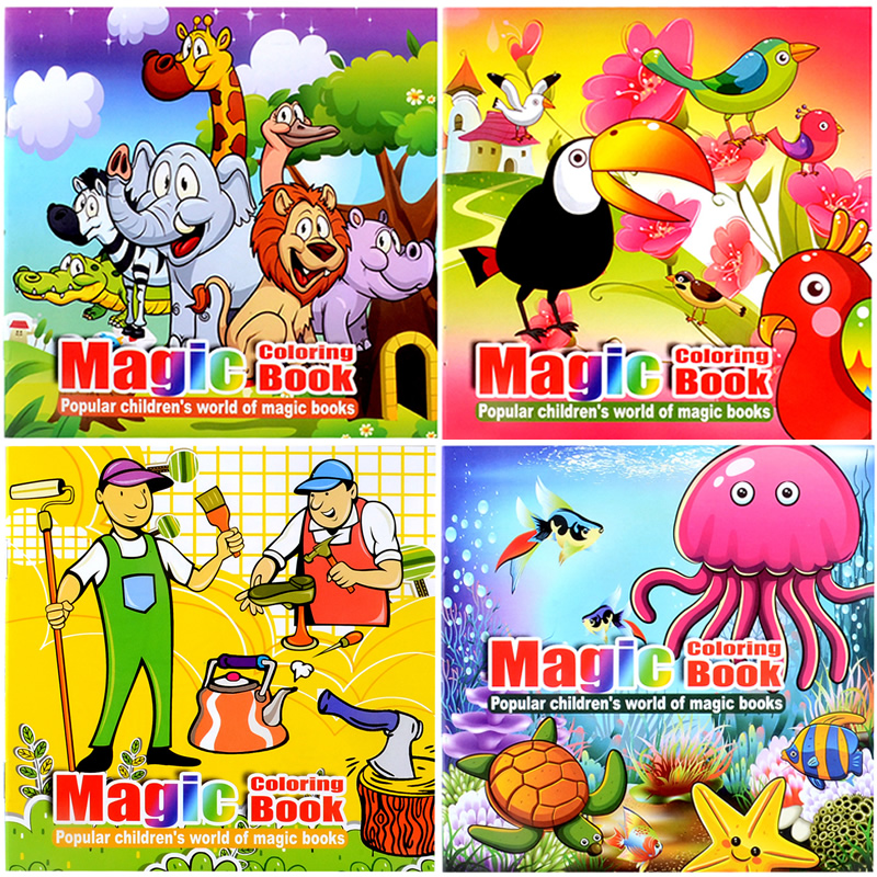 4 Books Cute Animal Style Secret Garden Painting Drawing Kill Time Book Will Moving DIY Children's Puzzle Magic Coloring Book
