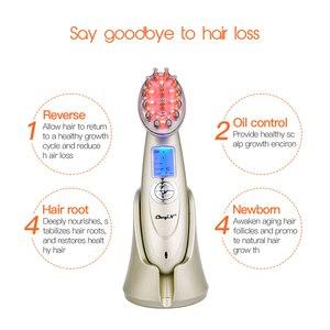 Image 5 - Elektryczny laserowy wzrost włosów grzebień kuracja przeciw wypadaniu włosów podczerwień RF Nano czerwone światło EMS wibracja masująca szczotka do włosów pielęgnacja włosów46