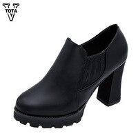 VTOTA Giải Trí Nền Tảng Máy Bơm Giày Không Thấm Nước Người Phụ Nữ Cao Gót Nêm Phụ Nữ Giày Đầu Tròn Zapatos Mujer Nữ Bơm FC10