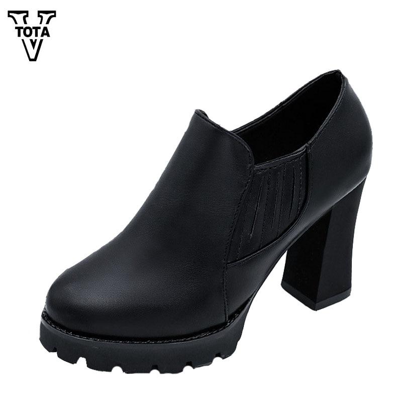 VTOTA Leisure Platform Pumps Waterproof Shoes Woman High Heels Wedges Women Shoes Round Head Zapatos Mujer Female Pumps FC10