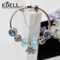 EDELL925 Стерлинговое Серебро модный браслет со снежинками и браслеты с бусинами, в европейском стиле для женщин Diy Ювелирные изделия Рождестве