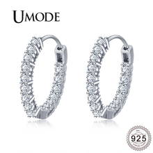 цены UMODE 2019 New 925 Sterling Silver Clear CZ Crystal Hoop Earring for Women Paved Zircon White Gold Earring Hoops Jewelry ALE0389