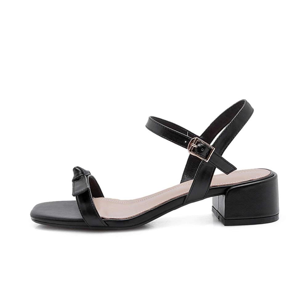 Krazing Topf prinzessin einfache stil schmetterling knoten dekoration peep karree schnalle med heels natürliche leder sandalen L26-in Mittlere Absätze aus Schuhe bei  Gruppe 3