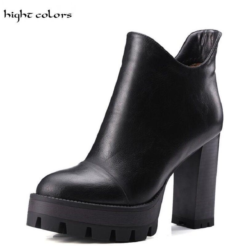 hight colors 2017 Winter Ankle Boots for Women Large Size Ladies Microfiber Booties Brand Square Heel Black Brown Gray Yellow armoire hot sales black yellow red brown gray flats women slouch ankle boots solid ladies winter nude shoes aa 3 nubuck