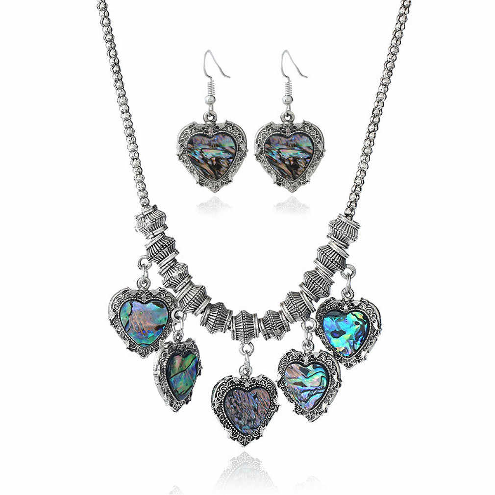 Fashion Baru Mengembalikan Cara Kuno Perhiasan Antik Perak Cinta Hati Leopard Print Shell Kalung Anting-Anting Set Untuk Wanita Ornamen
