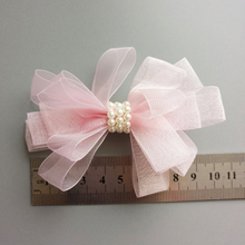Korean Style Hair Bows With Pearl Clip Hairpins For Girls Princess Yarn Flowers Barrettes Hairgrip Accessories