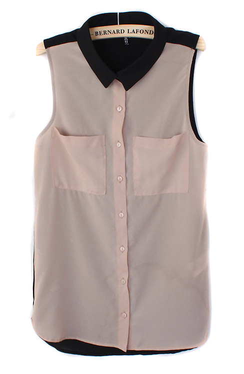 Free shipping Women's shirt women's patchwork chiffon sleeveless ...