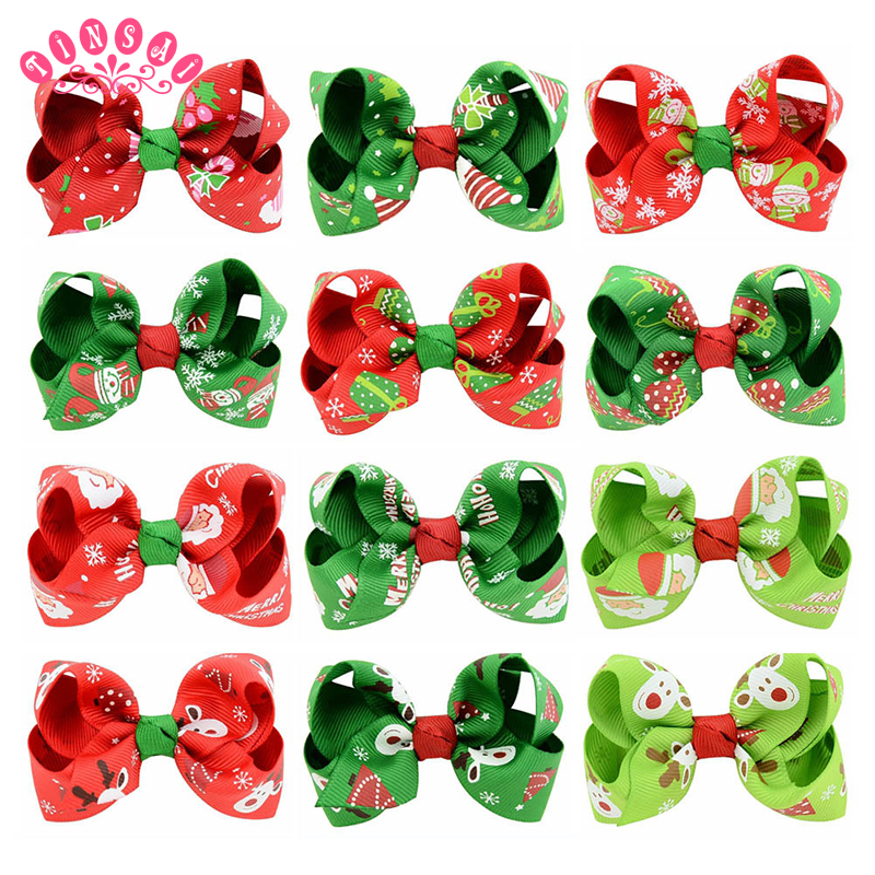 TINSAI trending products 2018 Christmas new child printing Bow hair clip Girl decoration tiara headband Polyester Material
