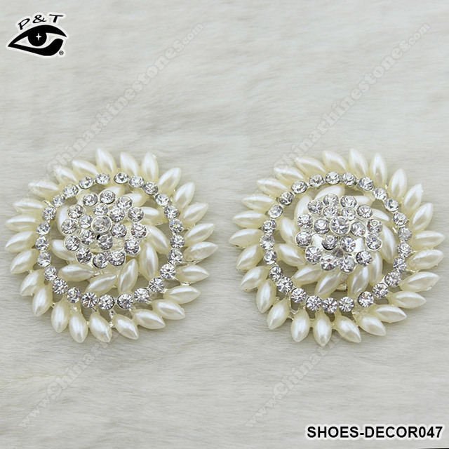 Free Shipping 1 Pair/lot Pearl Rhinestones Wedding Shoe Clip for Shoe Decoration