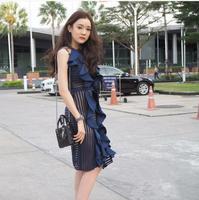 2017 HIGH QUALITY Newest 2017 Designer Runway Dress Women S Sleeveless Lace Falbala Dress Summer Dress