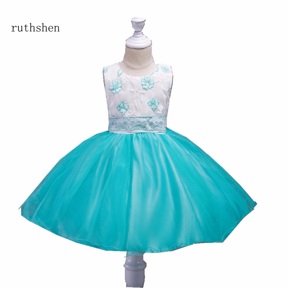 ruthshen Charming Baby Color Red/Blue/Rose Long Formal Wedding Party   Flower     Girl     Dress   Cheap Holy Communion   Dresses   2018